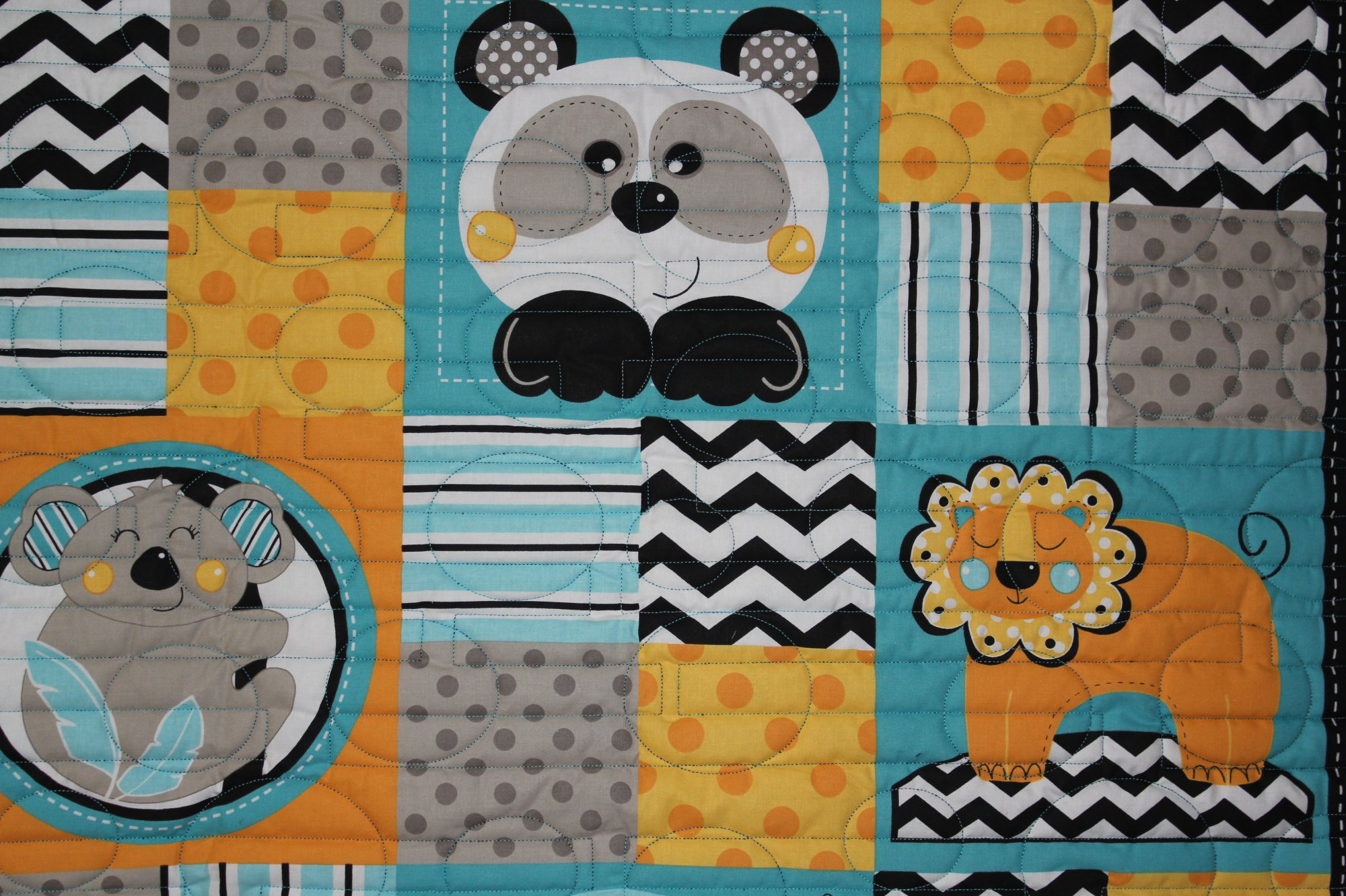 Animal Crackers Turquoise Dots and Stripes Quilt Crib/Lap/Wall
