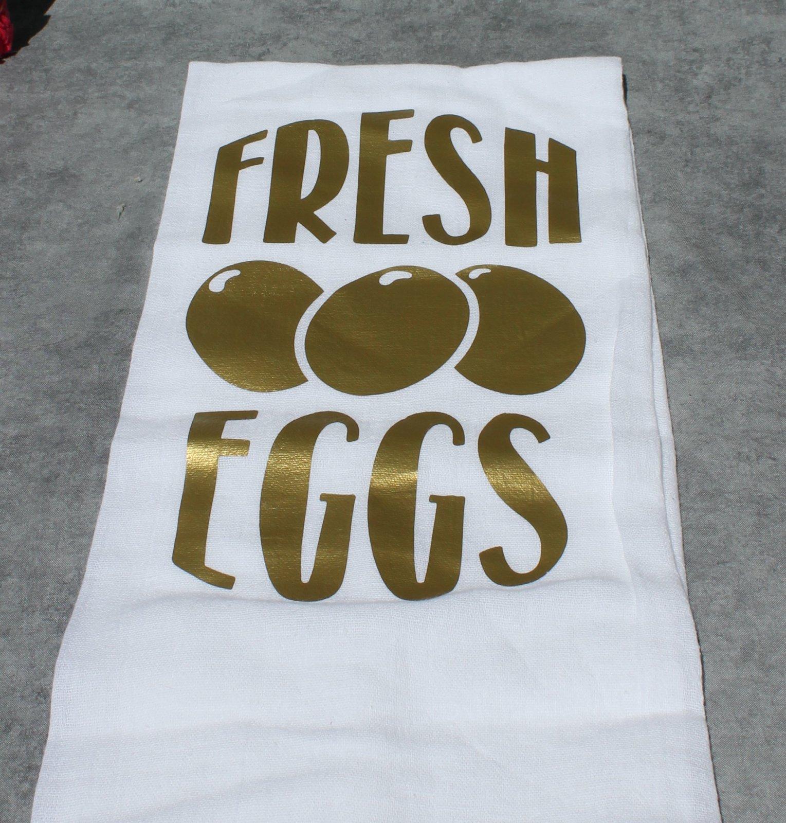 Fresh Eggs Flour Sack Kitchen Towel