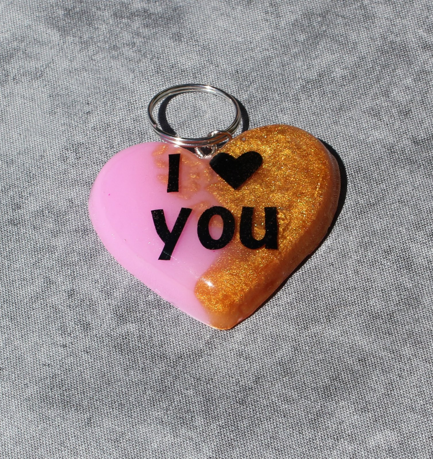 Two Tone Resin Heart Keychain