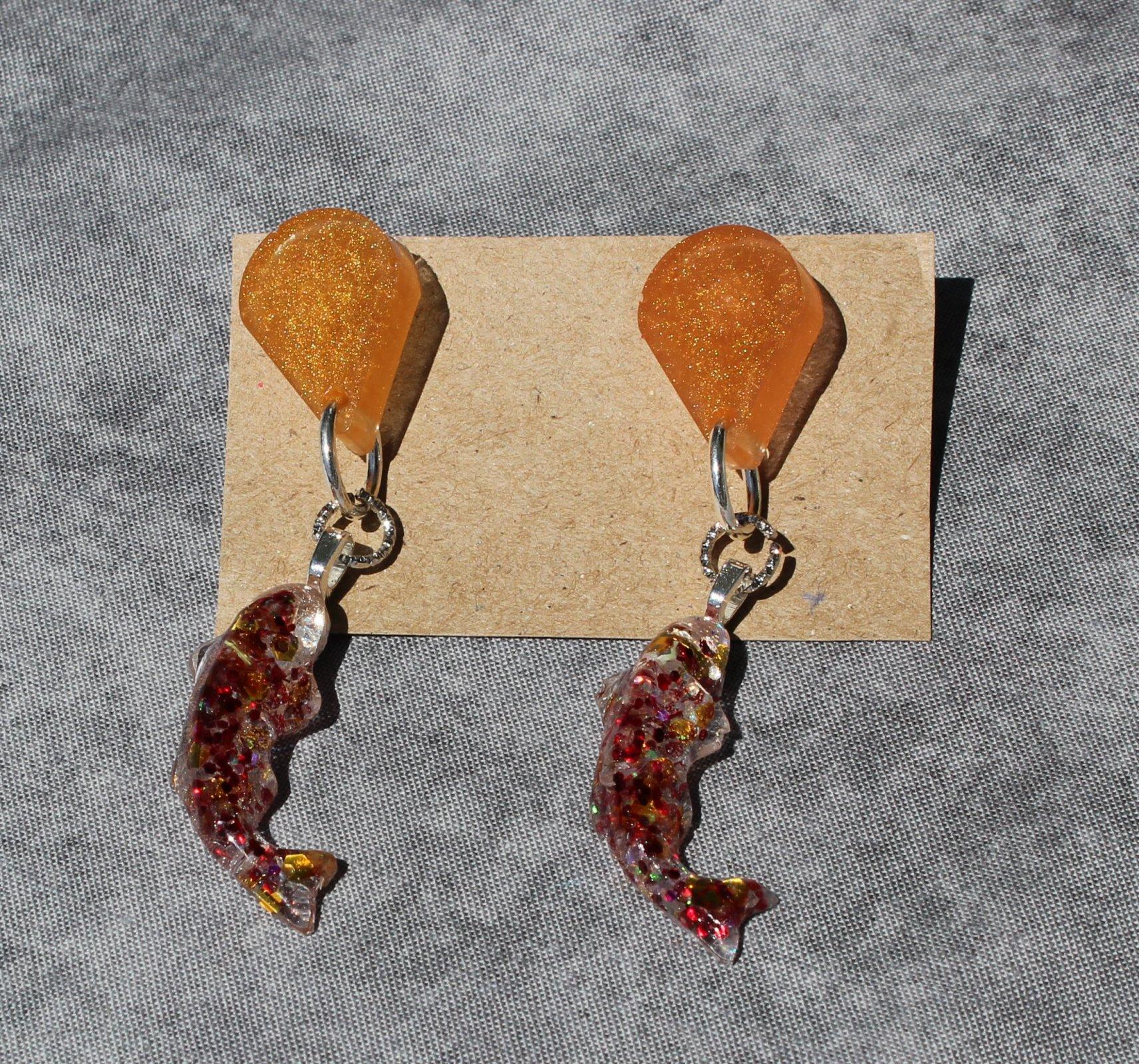 Koi Fish Resin Dangle Earrings
