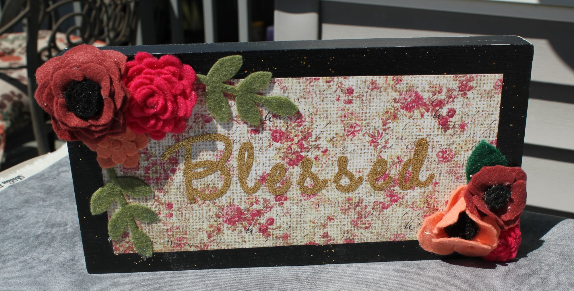 Wooden Blessings Sign with felted flowers