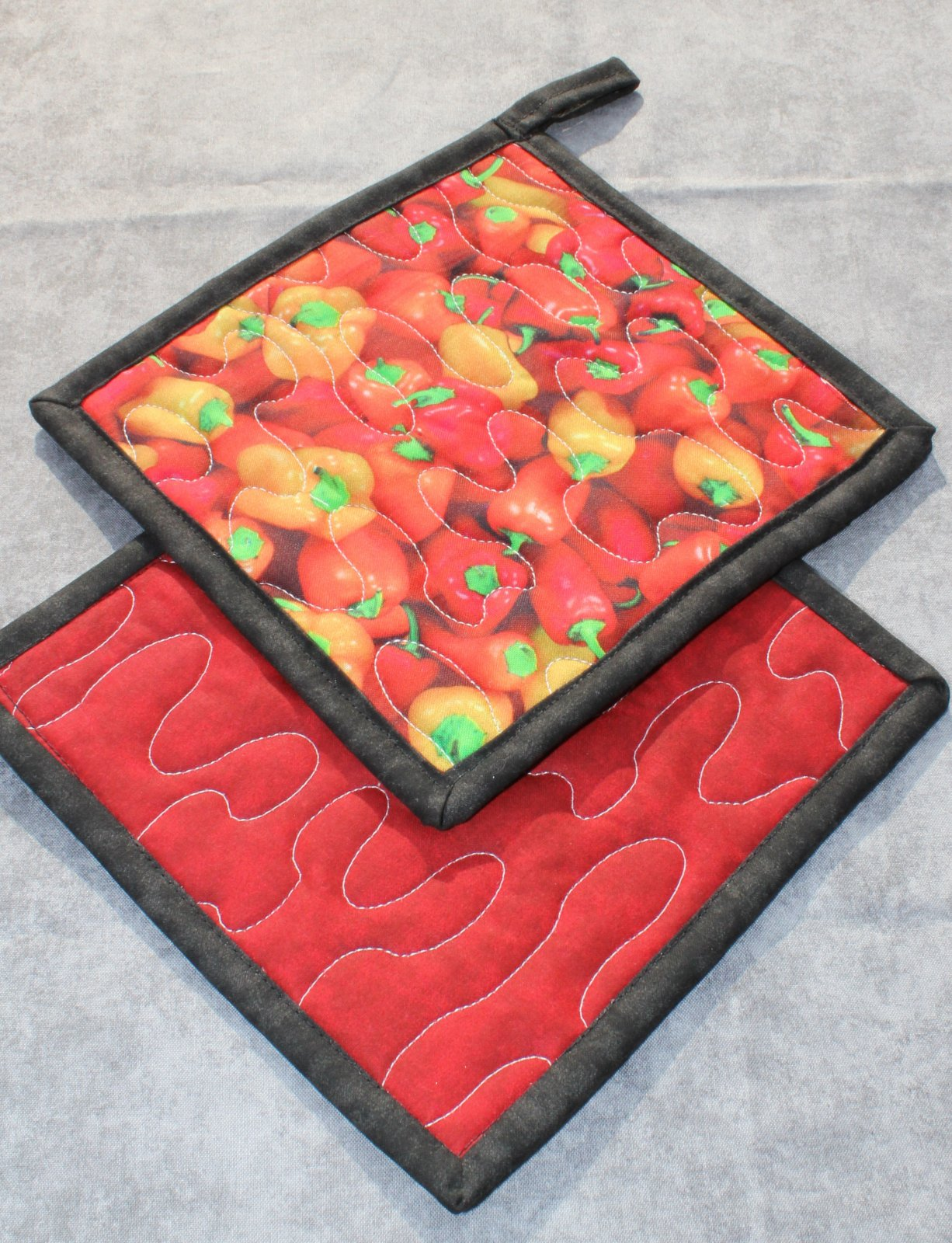 Colorful Garden Peppers Pot Holders Set of 2