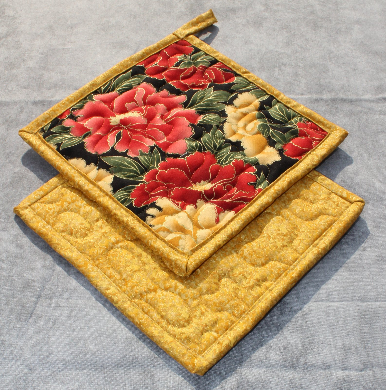 Red and Yellow Large Floral Metallic Pot Holders Set of 2
