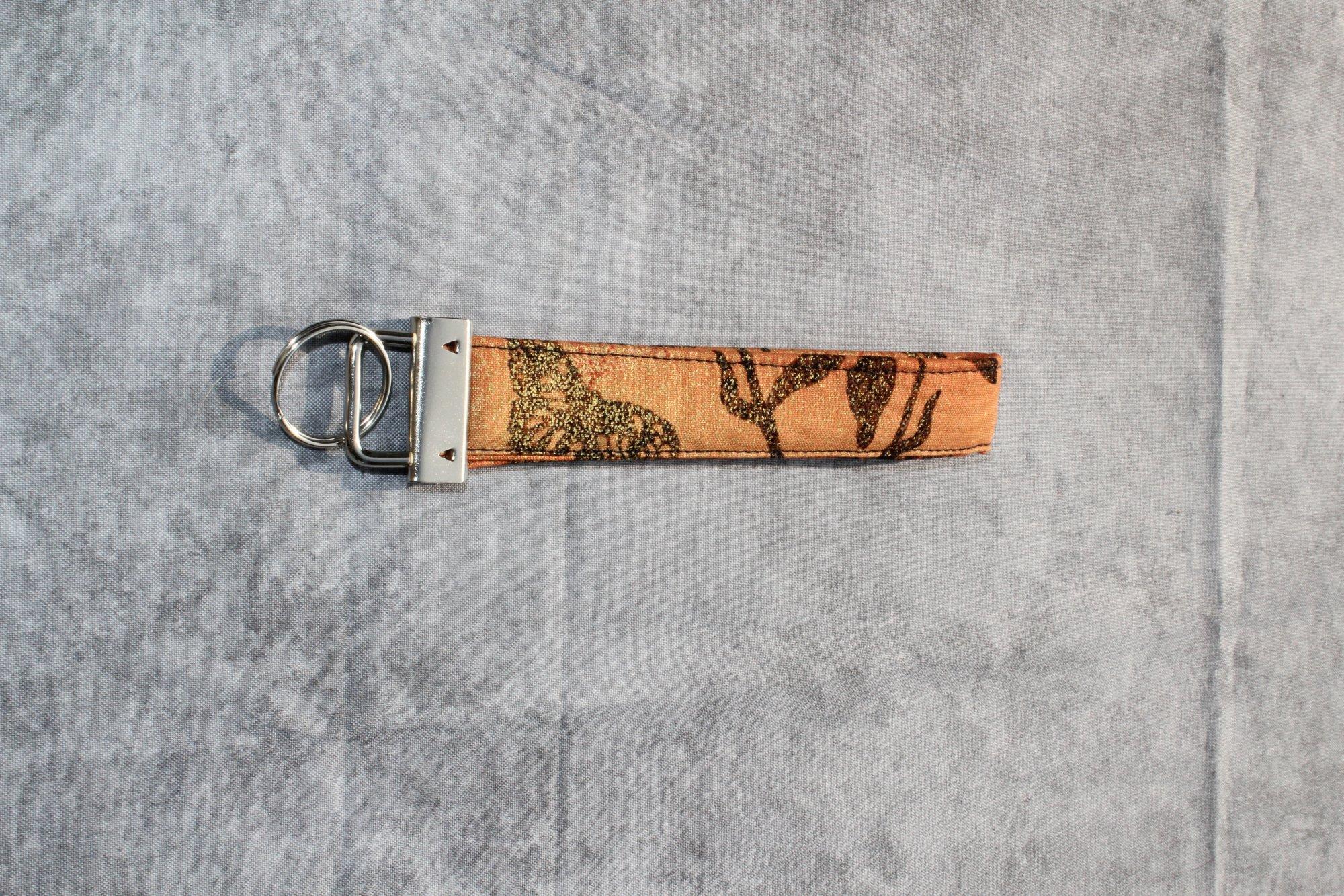 Orange/Gold/Black Glitter Butterfly Thin Wristlet