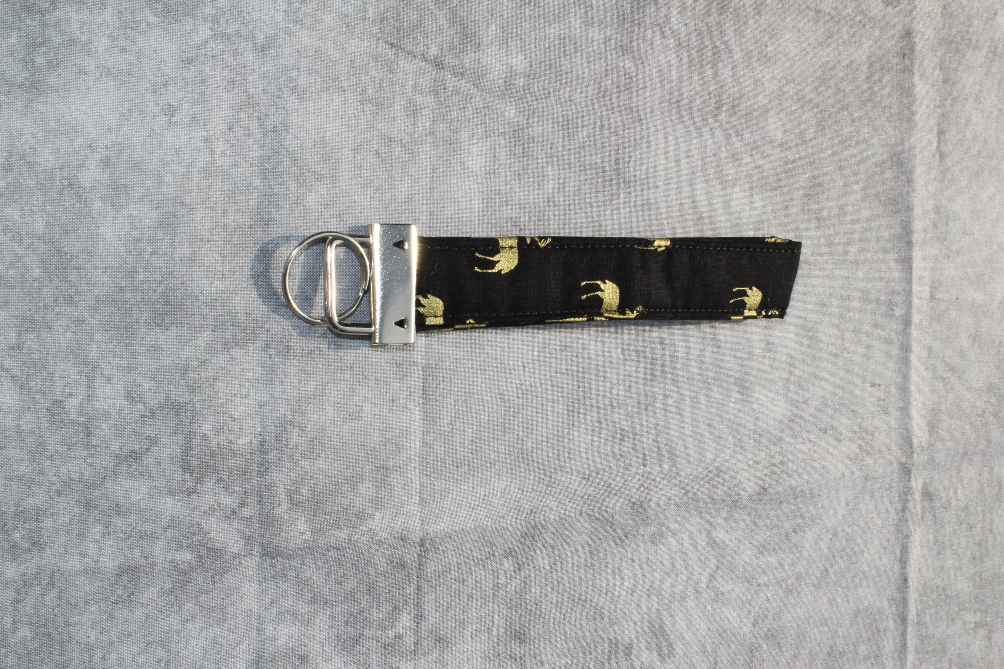 Black and Gold Deer Print Thin Wristlet