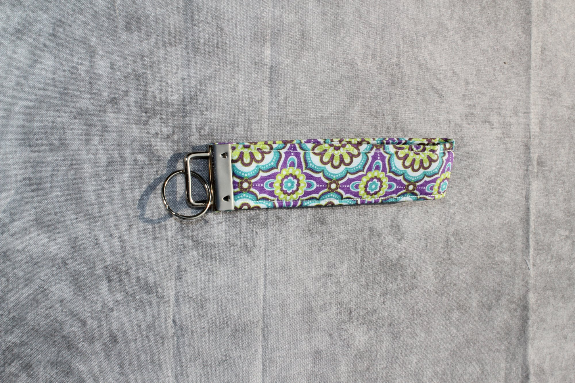Purple/Teal/Green Geometric Floral Classic Wristlet