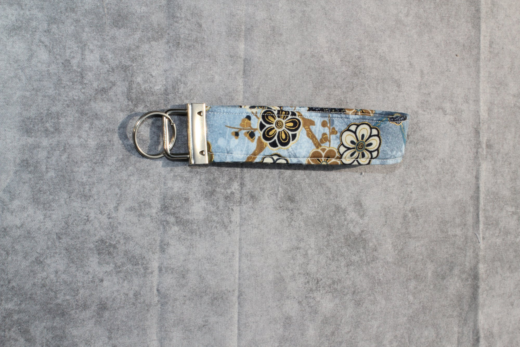 Blue/White/Gold Classic Wristlet with Florals