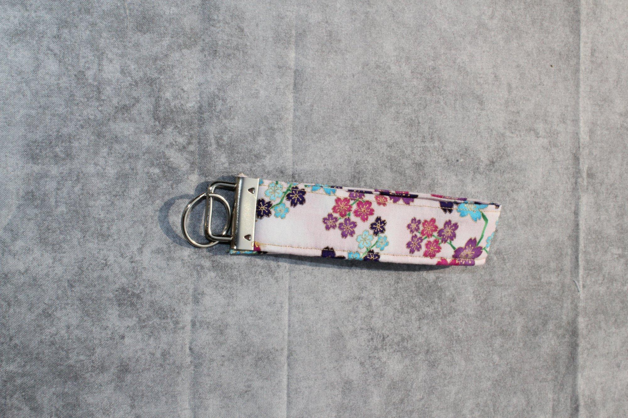 Pink/Purple/Blue/Gold Cherry Blossom Classic Wristlet
