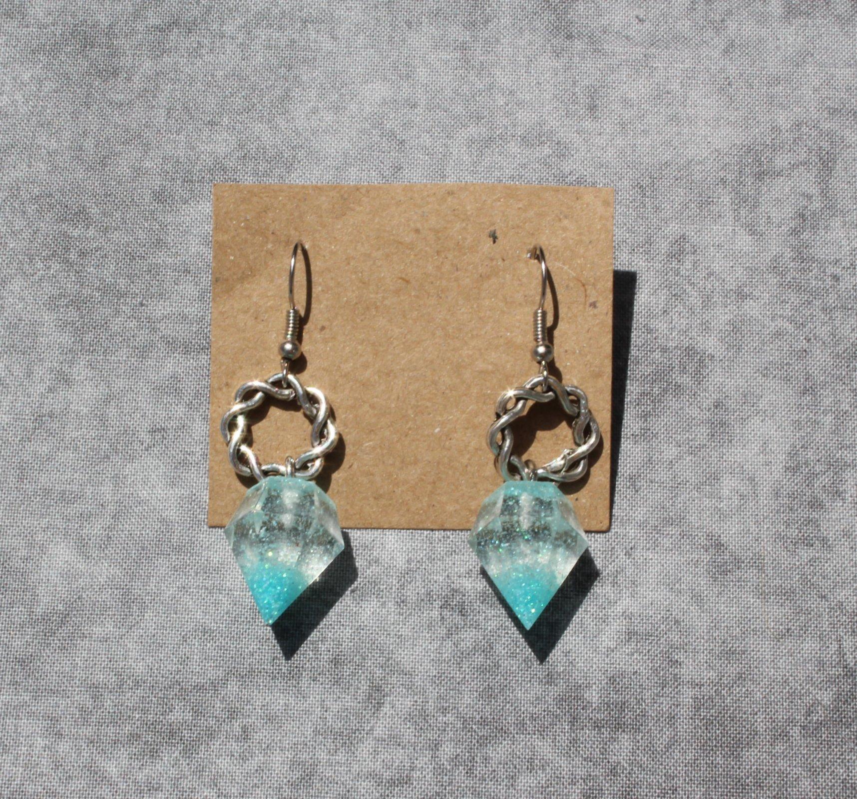 Resin Gemstone Dangle Earrings