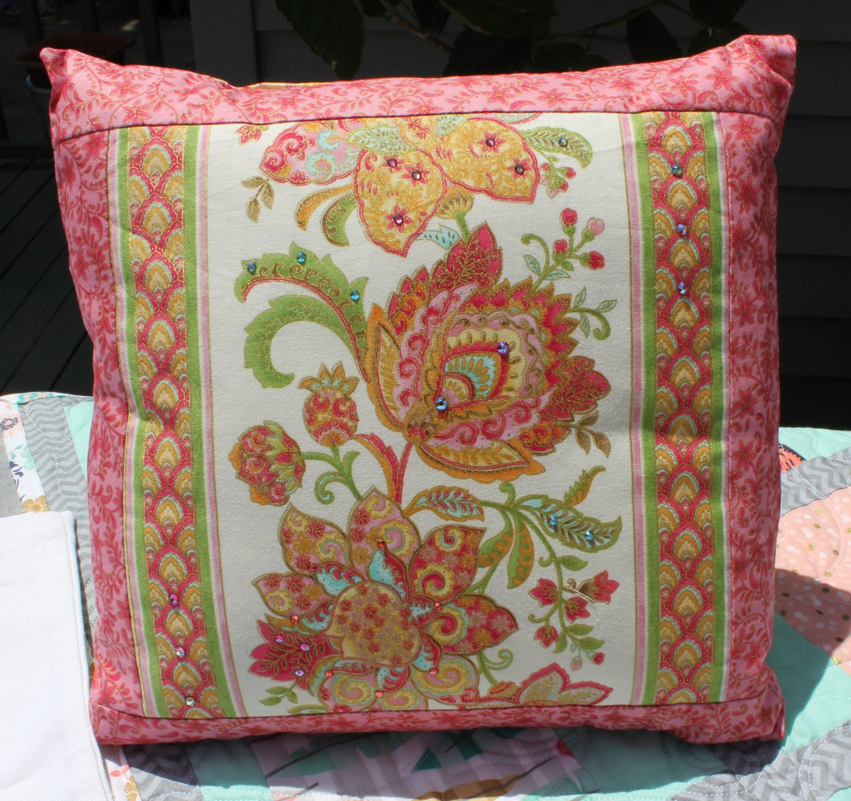 Pink Paisley Swarovski Envelope Pillow