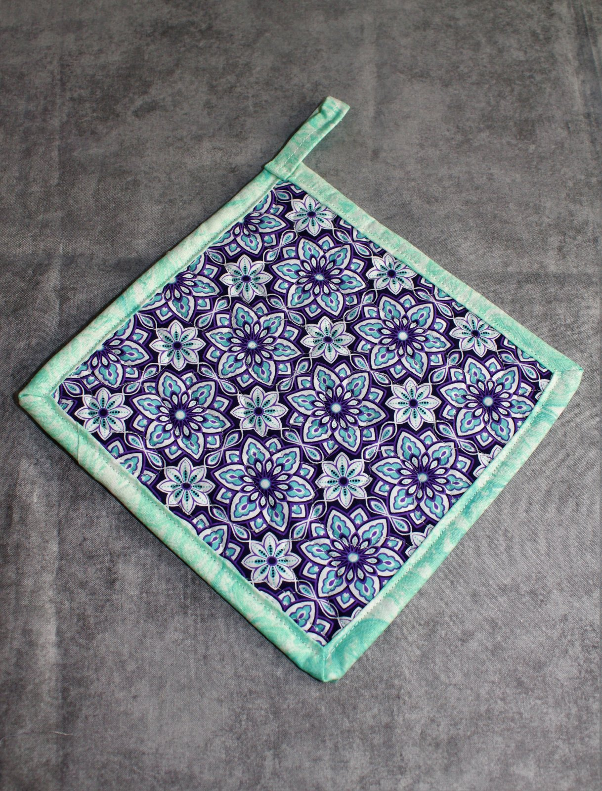 Blue Tessellating Floral Potholder