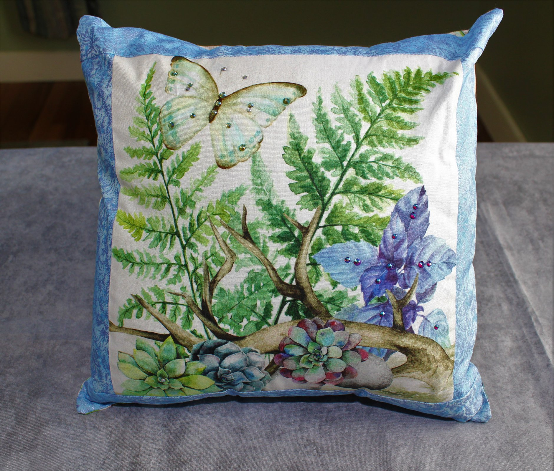 Swarovski Embellished Succulents Envelope Pillow