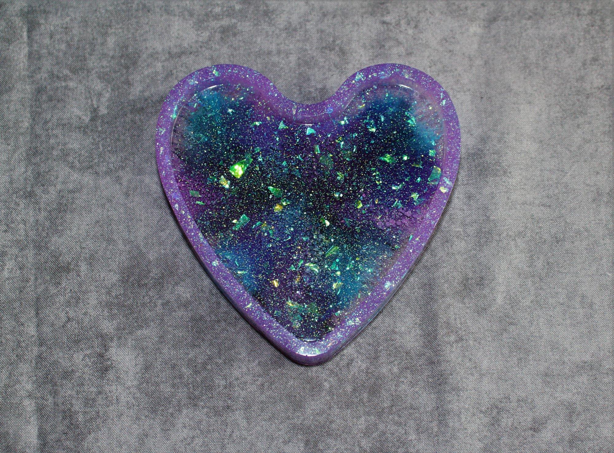 Heart Shaped Resin Galaxy Coaster