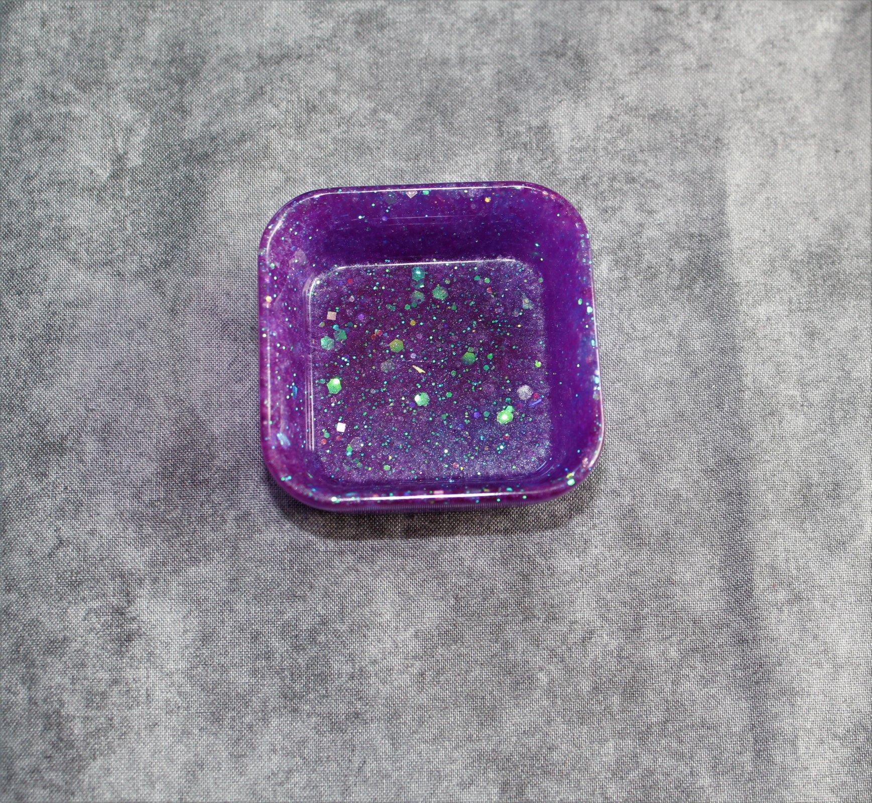 Glitter Blue Square Trinket Tray
