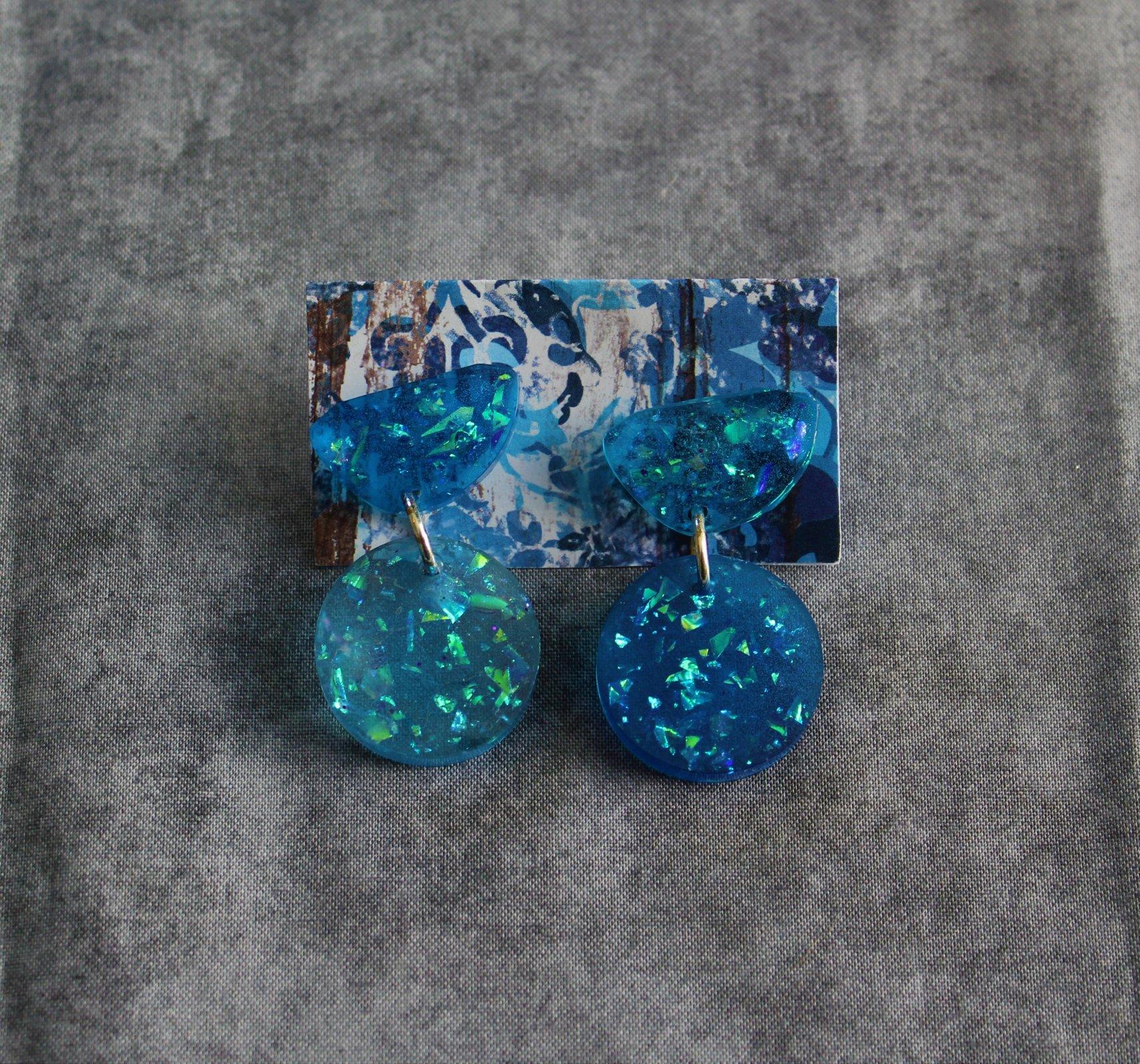 Blue Galactic Circle Dangle Earrings