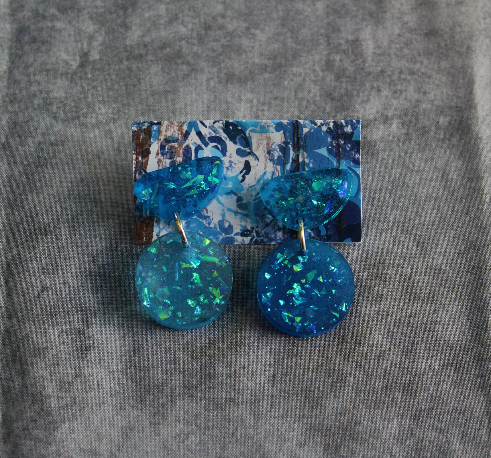 Blue Galactic Circle Dangle Earrings