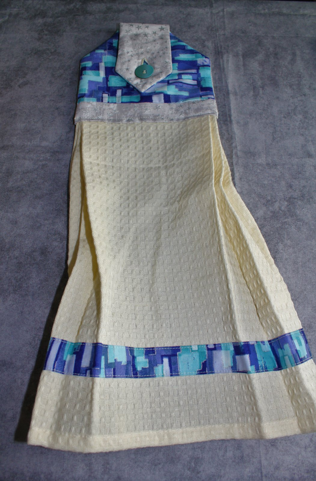 Blue with Silver Metallic Accented Button Towel