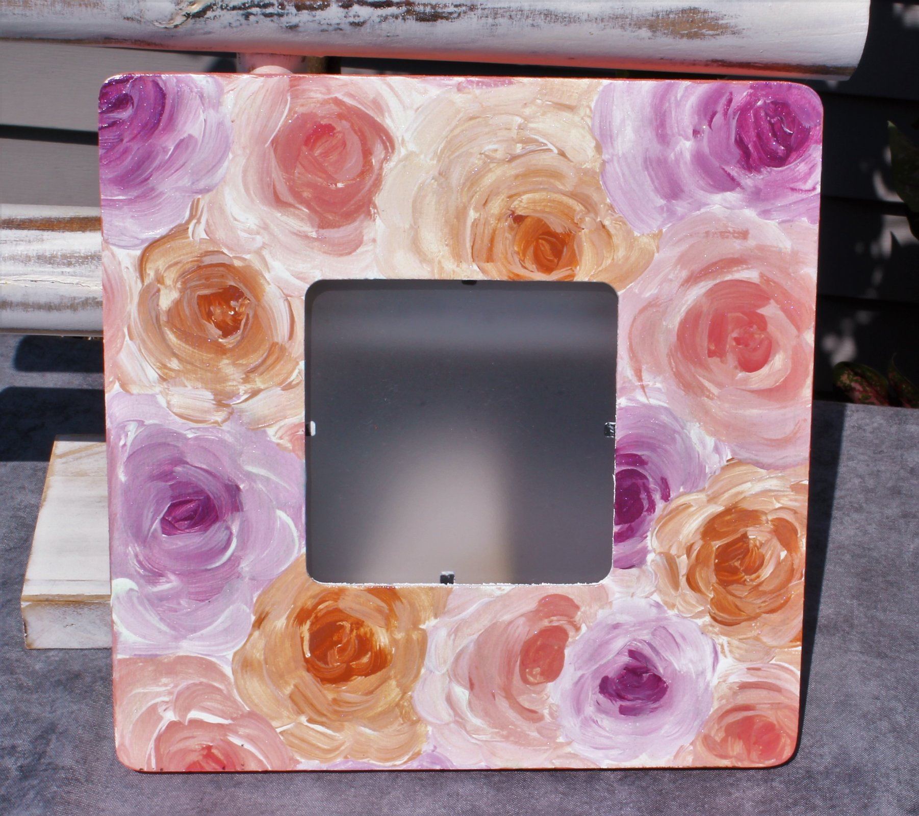 Pink/Orange/Purple Hand-Painted Acrylic Floral Picture Frame