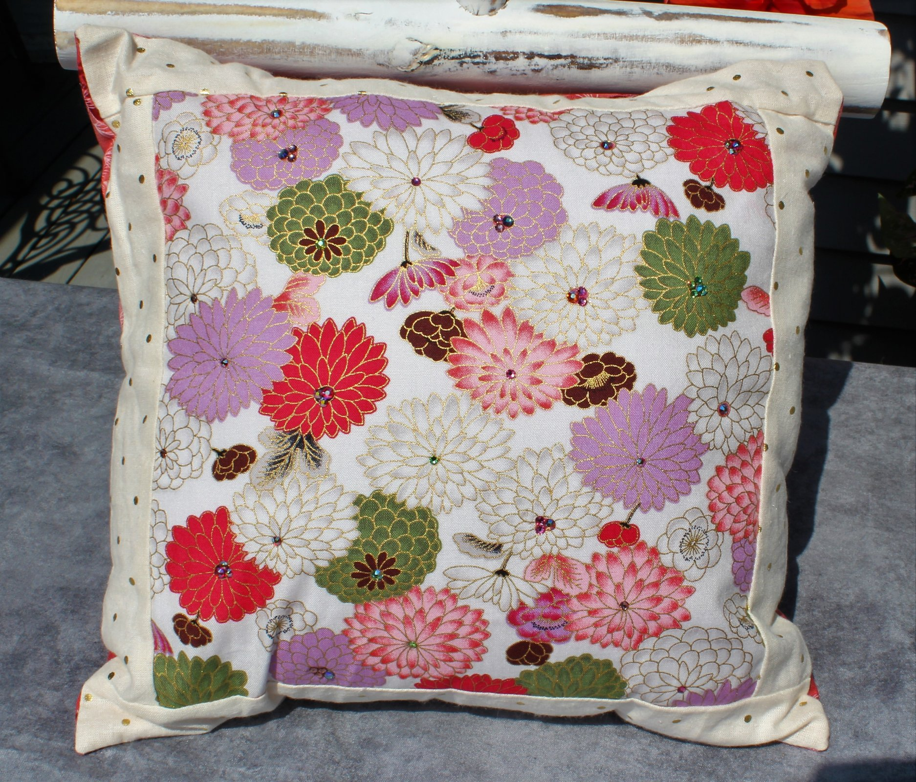 Purple/Pink/Green Floral Swarovski Embellished Decorative Pillow