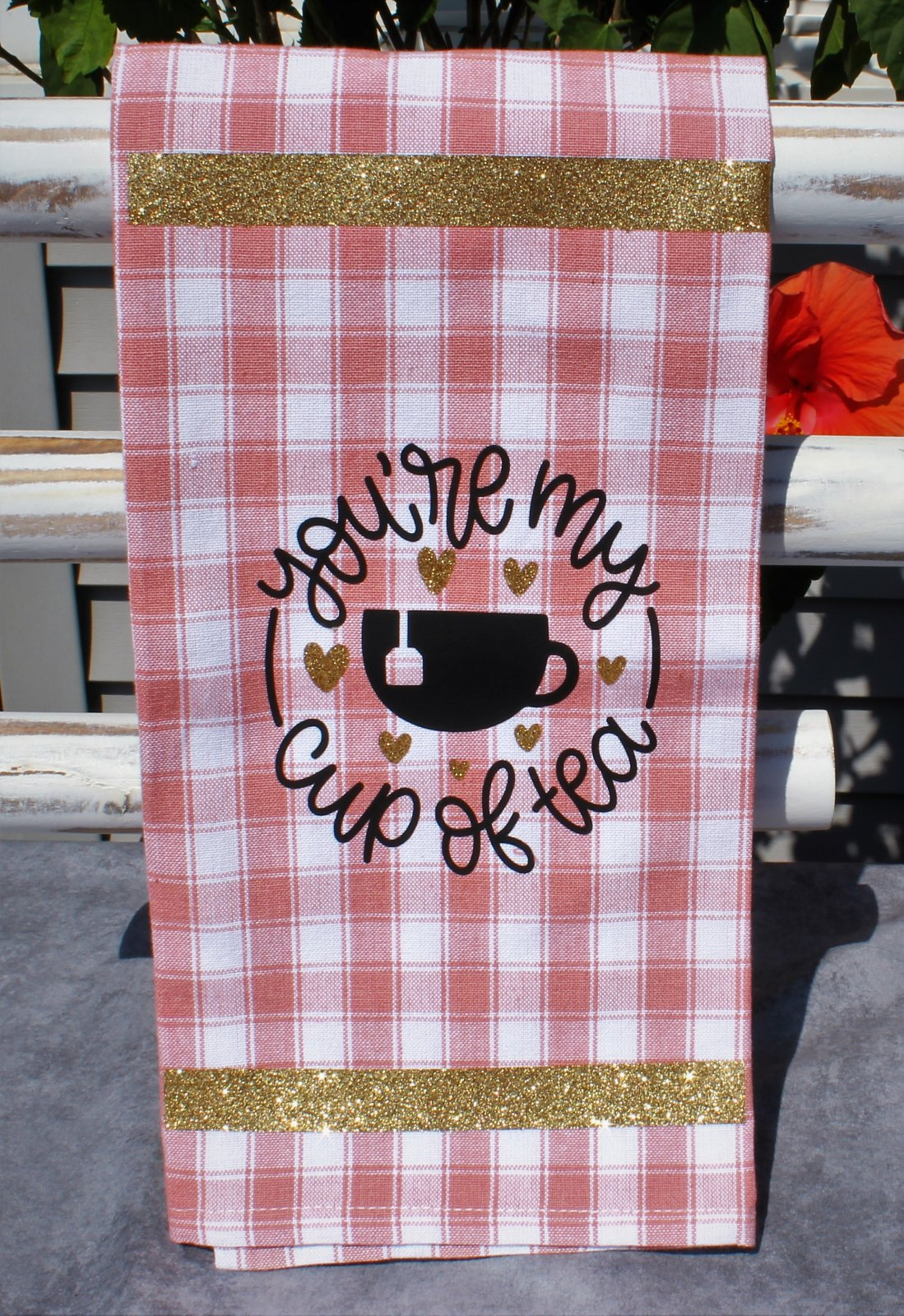 You're My Cup of Tea Quote Pink and Gold Vinyl Tea Towel