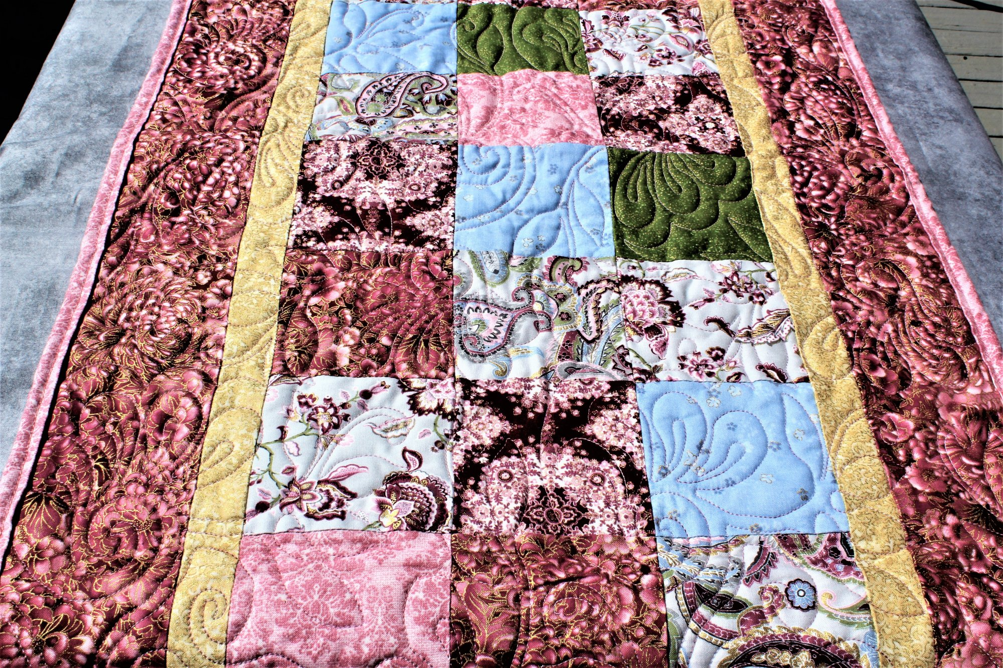 Pink/Green/Blue Florals and Paisleys Quilted Table Runner