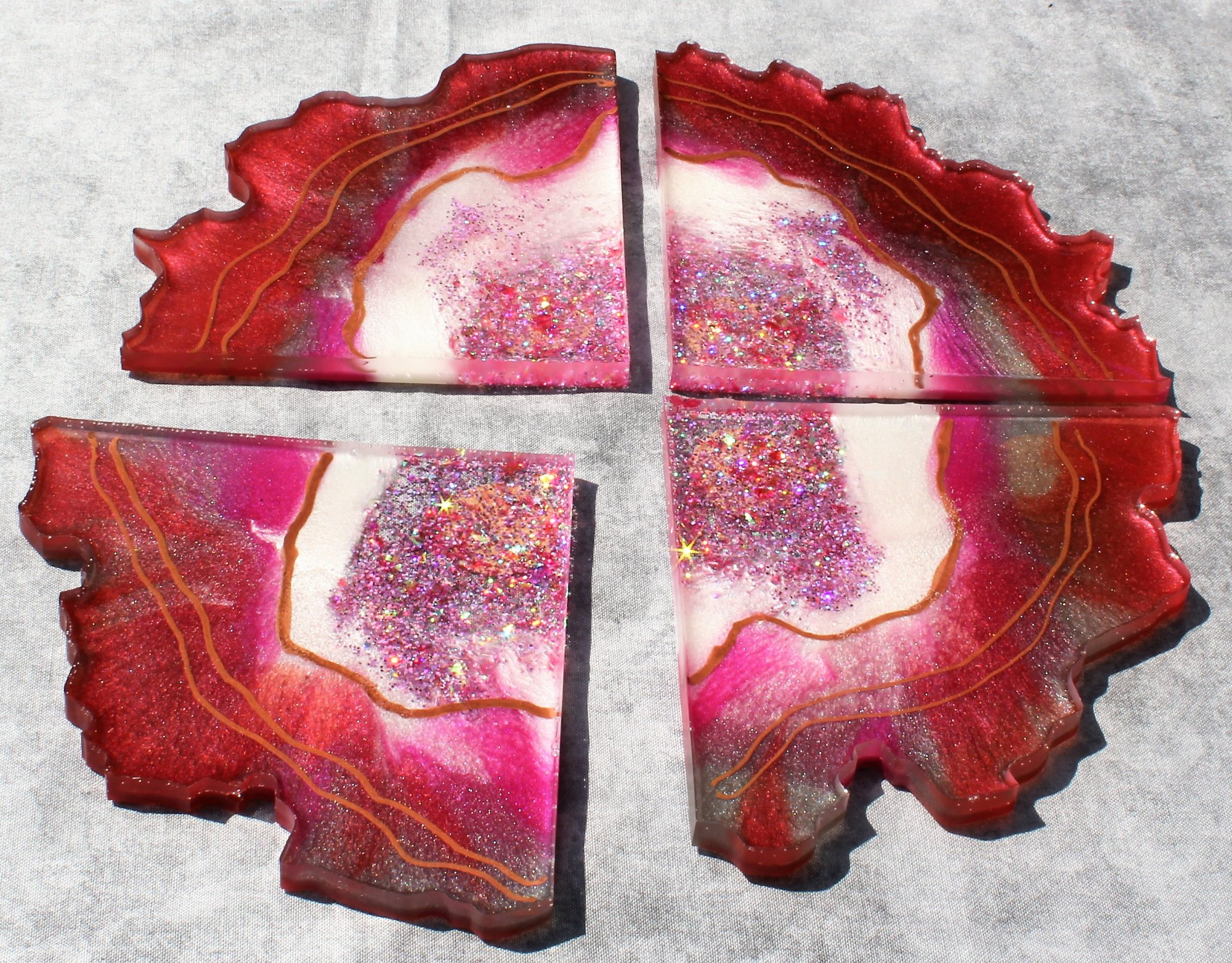 Red and Pink Resin Geode Slice Coasters with Holographic Glitter