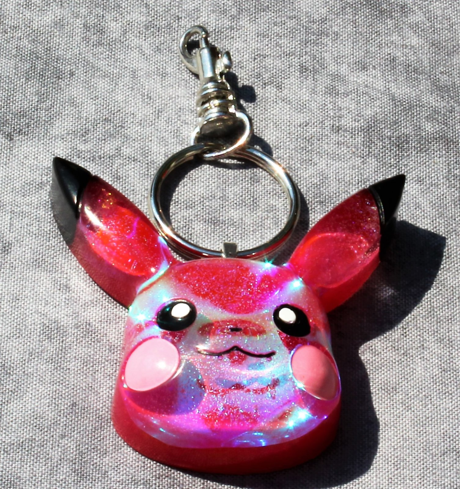 Holographic Pink Painted Resin Pikachu Keychain