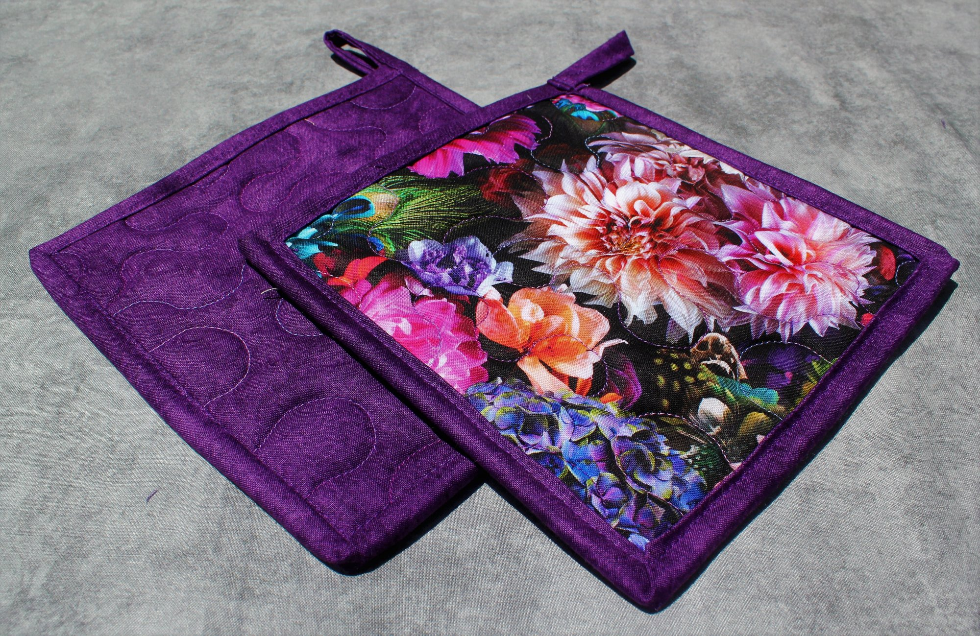 Bright Pink/Blue/Purple Flowers and Peacock Feathers Potholders Set of 2