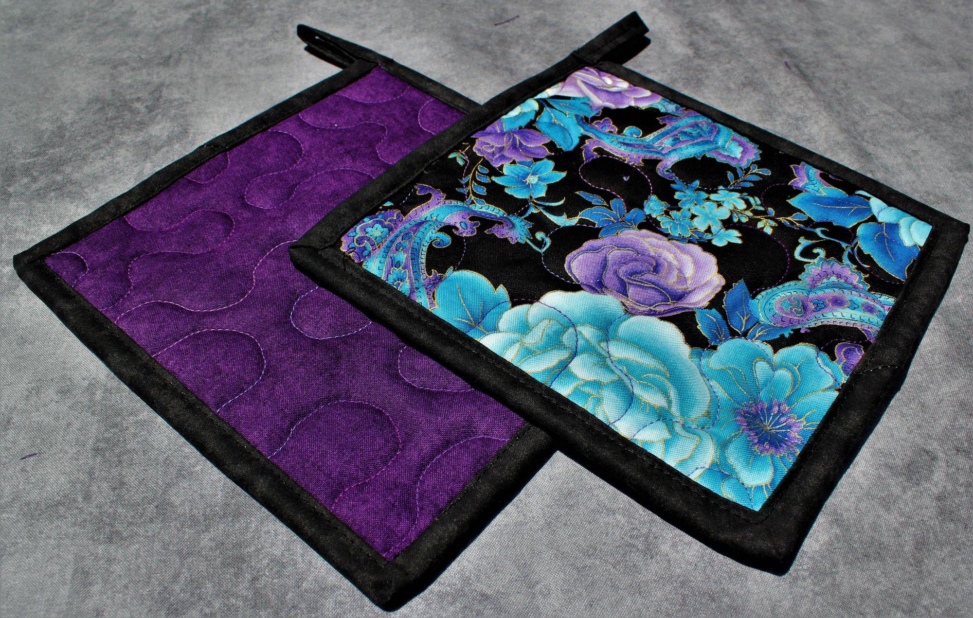 Blue/Purple/Black Flowers and Paisleys Potholders Set of 2
