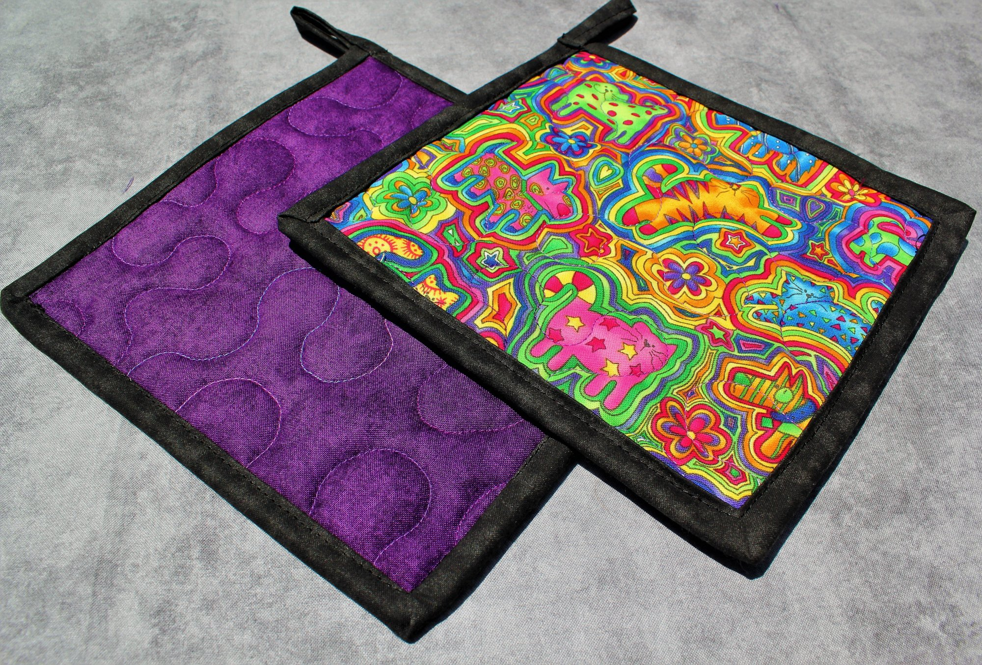 Colorful Cats and Dogs Trippy Rainbow Potholders Set of 2
