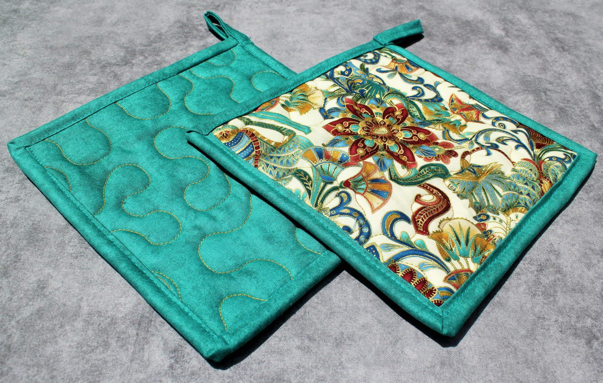 Red/Gold/Blue Flowers and Swirls Potholders Set of 2