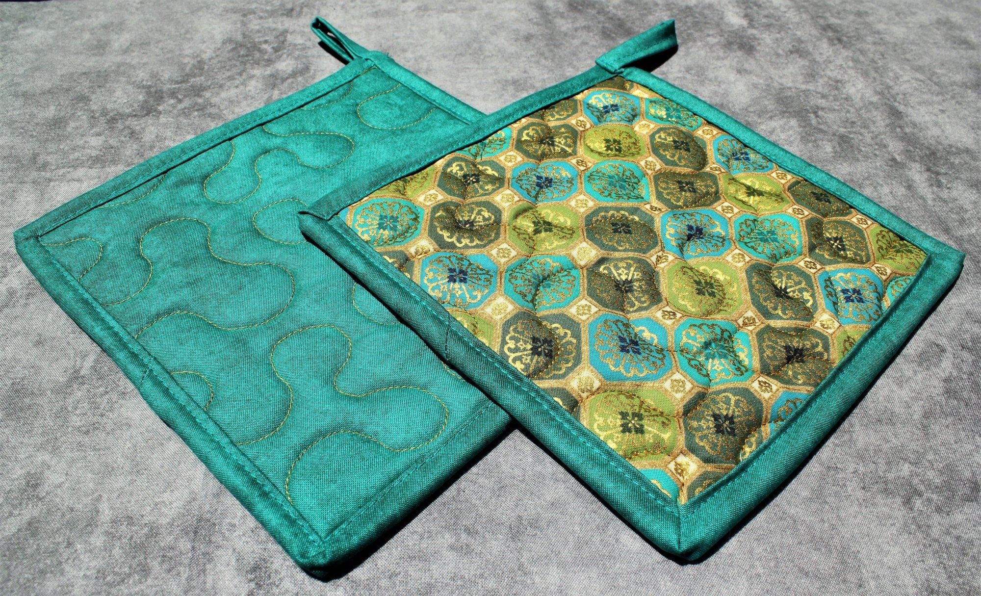 Green/Teal/Blue/ Gold Geometric Potholders Set of 2