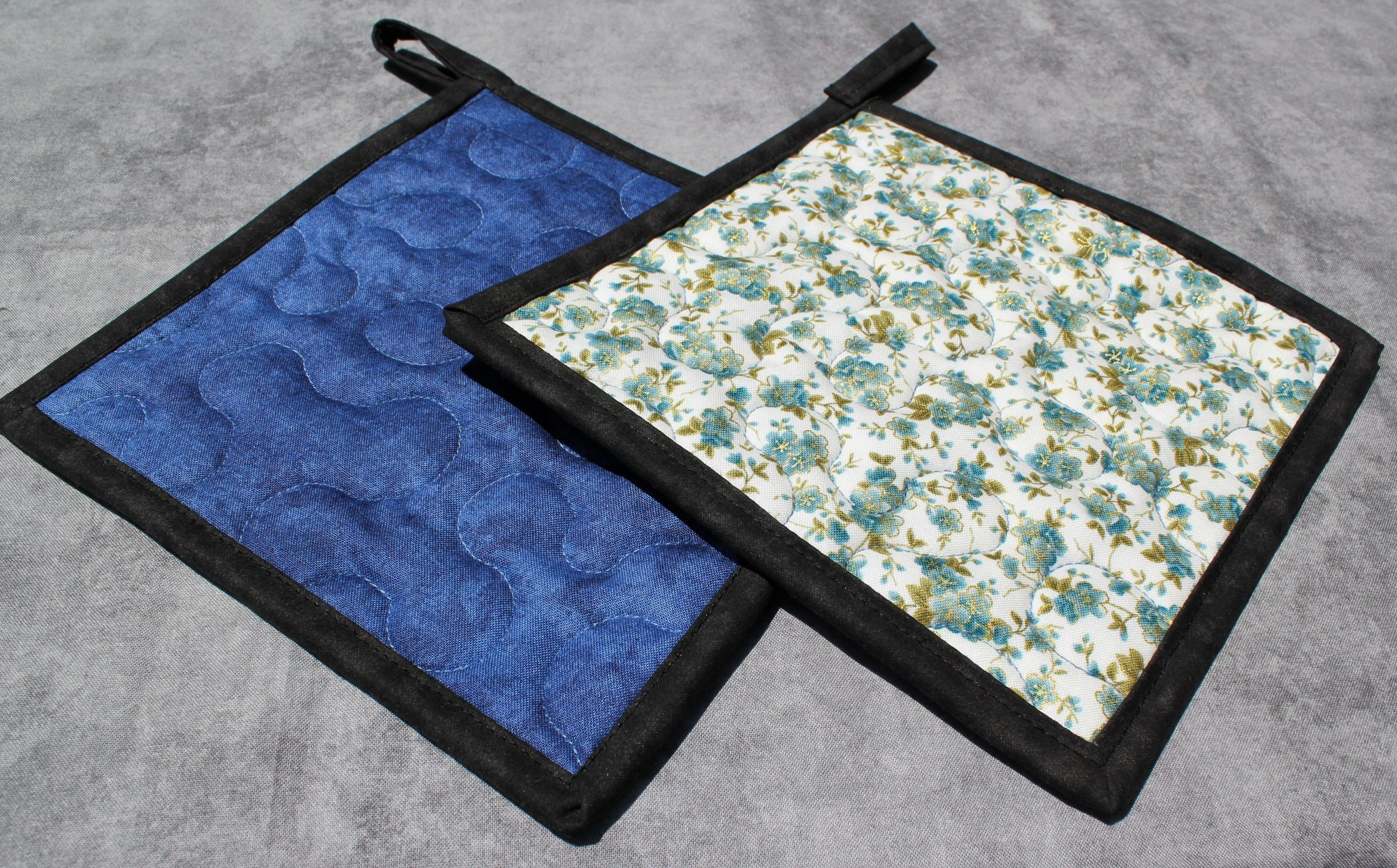 Blue and Green Flowers on White Potholders Set of 2