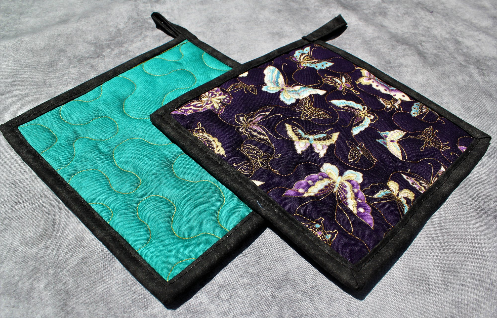 Purple/Blue/Gold Butterflies Potholders Set of 2