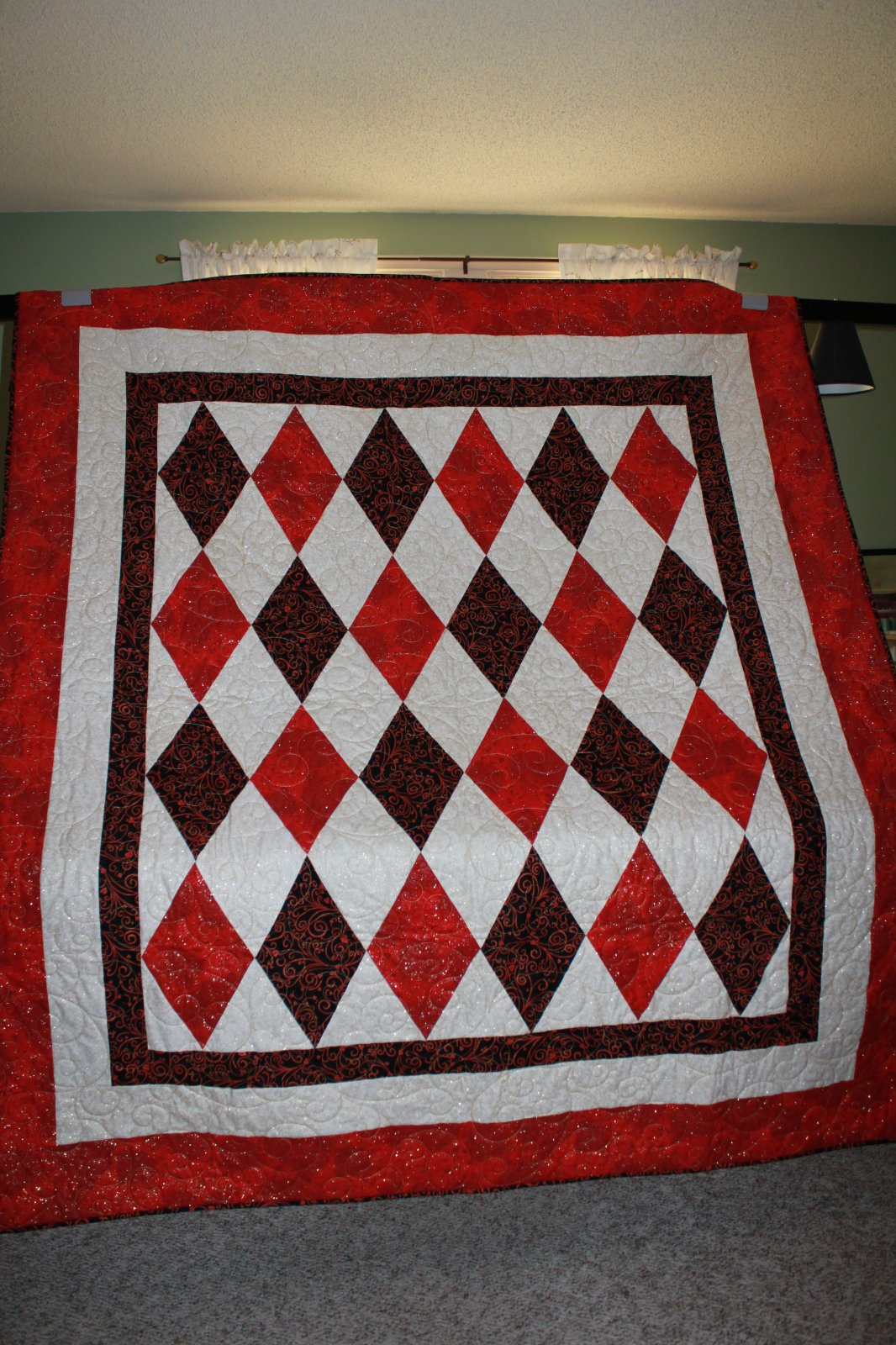 SALE Queen of Hearts Custom Designed Diamonds in Red, White, and Black Quilt