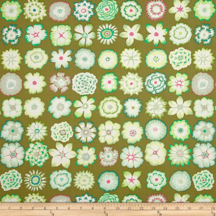 KF-Button Flowers Green