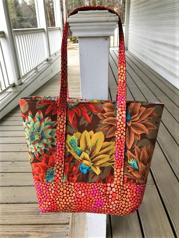 Tourist Tote Kaffe Fassett Cactus Flower (Brown)  without pattern