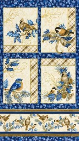 Holiday  Winter's Grandeur Panel Blue