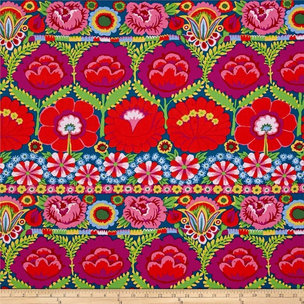 KF - Artisan Embroidered Flower Border -Red