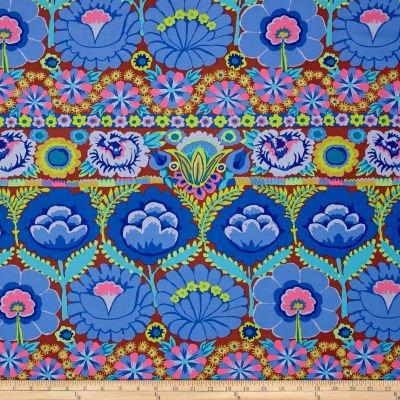 KF - Artisan Embroidered Flower Border- Blue