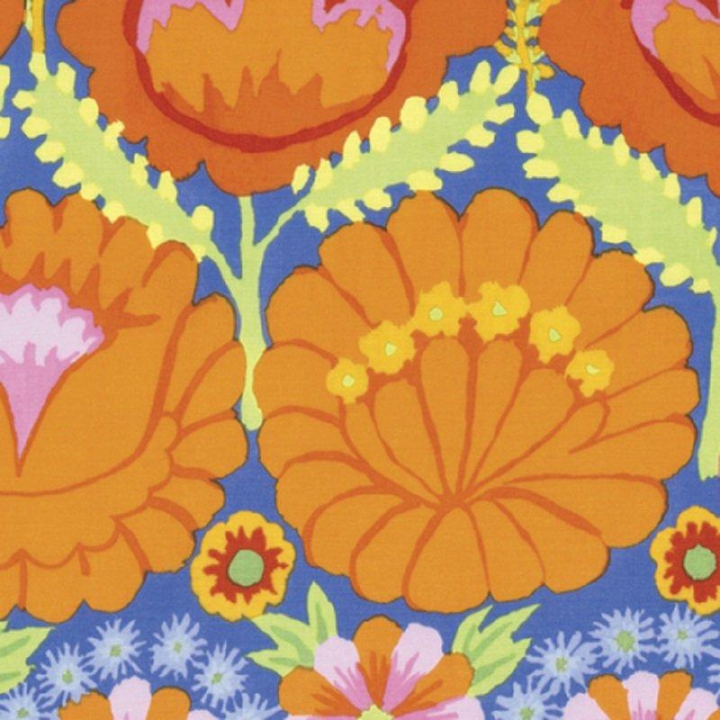 KF - Artisan Embroidered Flower Border - Orange