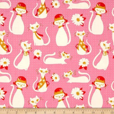 Cotton and Steel Beauty Shop Pink Cats Pink