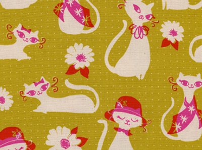 Cotton and Steel Fancy Cats Yellow