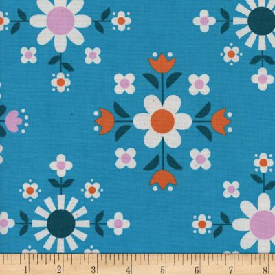 Cotton+Steel Welsummer Florametry Bright Blue