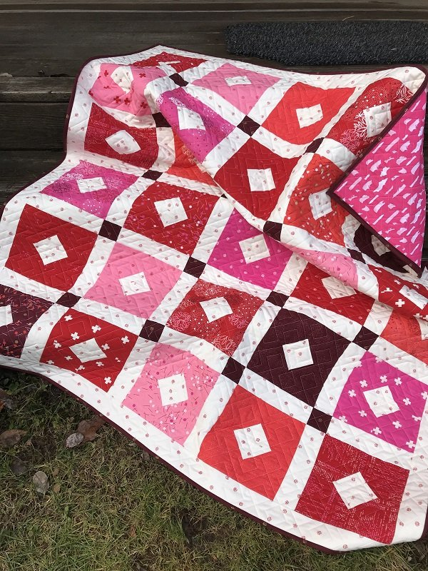 Red and White Diamond Quilt Kit  51x 60