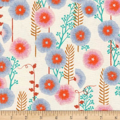 Cotton+Steel Santa Fe- Hollyhocks - Natural