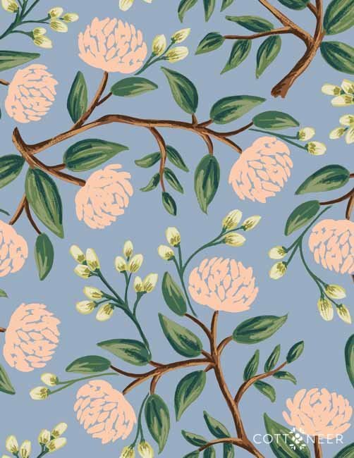 Rifle Paper Company  Peonies Dusty Blue