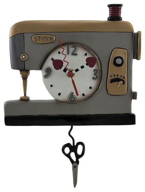 CLOCK-Back Stitch Sewing GREY