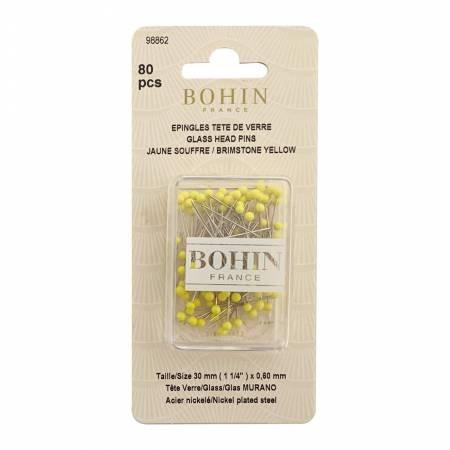 Bohin Glass Head Pins-Yellow