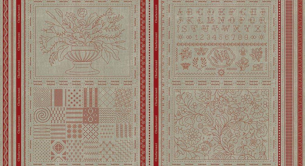 Chafarcani Linen Panel Red ML13859 11